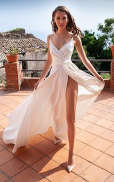 A Line Sleeveless Satin Casual Open Back Prom Dress with Sash and Split Front