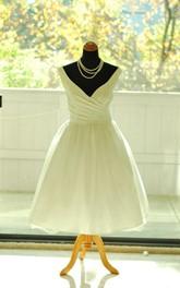 dipped-v-neck Sleeveless A-line Satin short Wedding Dress