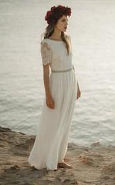 Bohemian Sheath Bateau Wedding Dress With Short Sleeve And Lace Open Back