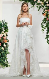 Adorable Sleeveless High-low Lace Bridal Gown With Sash And Bow