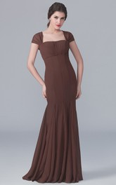 Cap-sleeve Sheath Chiffon Floor-length Dress With Pleats And Keyhole