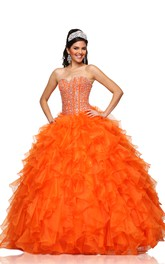 A-Line Crystal-Bodice Cascading Ruffled Sweetheart Chiffon Sleeveless Ball Gown