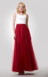 Tulle Skirt Ba3-4U Neckline Sleeveless A-Line Dress