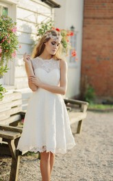 Illusion Sleeveless A-line Jewelry Neckline Knee-length Lace Wedding Dress
