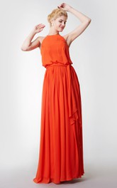 Jewel-Neck Sleeveless Chiffon Floor-length Bridesmaid Dress With Draping