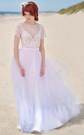 flowy Bateau Lace Short Sleeve Tulle Floor-length Dress With Illusion