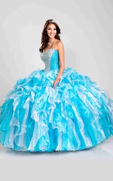 Sweetheart Ruffle Skirt Glittering Lace-Up Strapless Ball Gown