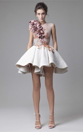 A-Line Short Sleeveless Jewel Lace Prom Dress With Handmade Flowers