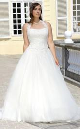 Halter Tulle Long A-Line Court-Train Sleeveless Dress