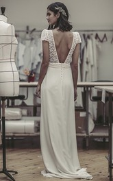 Cute Open Back Puff Sleeve Plunging Bridal Gown With Lace And Satin