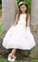 Taffeta Tiered 3-4-Length Flower Girl Dress