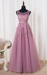 Bateau Sleeveless A-line Tulle Dress With Appliques And Illusion