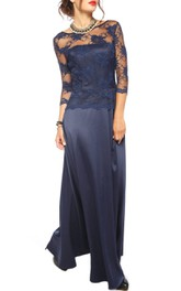 Bateau Illusion 3-4-sleeve Long Dress With Appliques And Low-V Back
