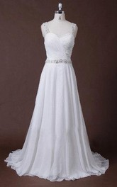 Chiffon Pleated Beaded Strapped A-Line Dress