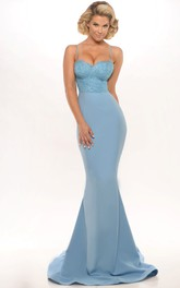 Spaghetti-strap Sweetheart Mermaid party Dress With Lace top
