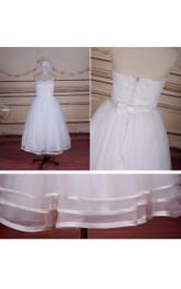 Strapped Lace Bridal Tea-Length Short Satin Tulle Dress