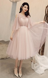 Off-the-shoulder V-neck Tulle Tea-length Prom Cocktail Homecoming Dress