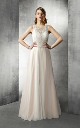 Scoop-neck Sleeveless A-line Tulle Wedding Dress With Lace top