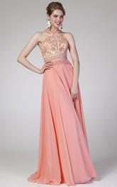 A-Line Pleated Jeweled High-Neck Sleeveless Straps Chiffon Dress