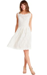 casual Lace Knee-length Dress With Keyhole