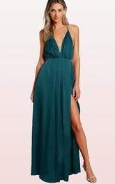 Plunging Neckline Tulle Sleeveless Floor-length Backless Formal Dress with Split Front