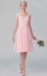 Cap-Sleeved V Back Graceful Short Chiffon Gown