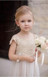 Lace Cap Sleeve Chiffon Newest Flower Girl Dress