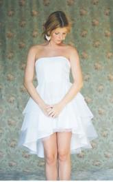 Asymmetrical Strapless Sleeveless Layered Cute Bridal Dress