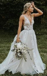 Modern Sleeveless Tulle A Line V-neck Floor-length Wedding Dress with Appliques