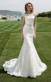 Bridal Jeweled Waist Cap-Sleeve Bateau-Neckline Dress