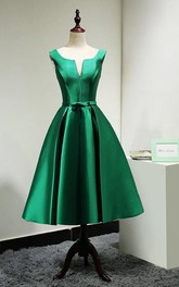 Bateau Sleeveless Satin A-line Dress With Corset Back
