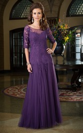 Half Sleeve Scoop-neck Tulle Mother of the Bride Dress With Appliques