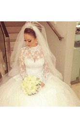 High Neck Lace Tulle Illusion Long Sleeve Wedding Dress