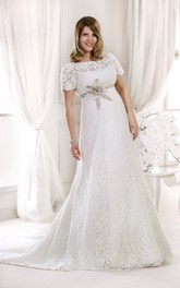Bateau Short Sleeve Lace plus size wedding dress With Flower And Appliques