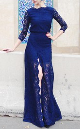 Bateau 3-4-sleeve Long Sleeve Front-split allover Lace Dress