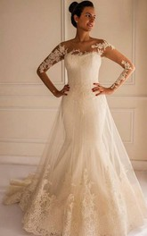 Appliqued Long Train Tulle Lace Chic Bridal Mermaid Dress