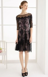 Bateau Illusion Half Sleeve Knee-length Dress With Lace Appliques