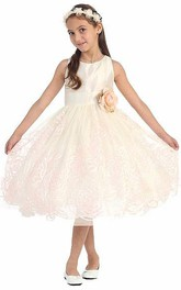 Layered Embroidery 3-4-Length Floral Flower Girl Dress