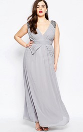 A-Line V-Neck Long Beaded Sleeveless Chiffon Bridesmaid Dress With Ruching