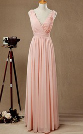 Plunged Sleeveless Floor-length Chiffon Dress With Pleats