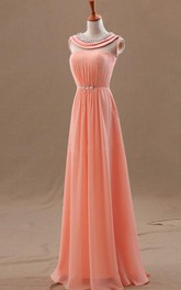 Scoop-Neck Es Floor-Length Princess A-Line Chiffon Gown