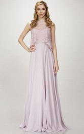 Jewel-Neck Sleeveless Empire Chiffon Dress With cape