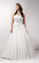 Strapless A-line Ball Gown Pleated Wedding Dress With Appliques