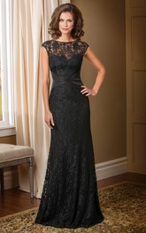 Beaded V-Back Long Cap-Sleeved Mother Of The Bride