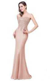 Lace Brush-Train Sleeveless Trumpet Satin Appliqued Dress