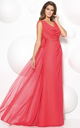 cowl-neck Sleeveless Chiffon Dress With Appliques Illusion back