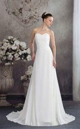 A-Line Ruched Appliques Chiffon Sweetheart Gown