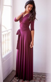 Floor-length Long Sleeve Jersey&Satin Dress