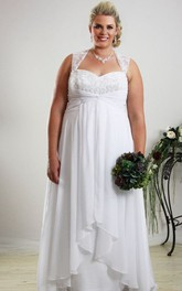 Queen Anne A-line Chiffon plus size wedding dress With Beading And Pleats