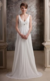 Long Beaded Waist Pleated Plunged Gown